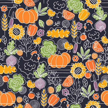 Farm living seamless pattern. Linear graphic. Chicken, vegetables and harvest tools. Scandinavian doodle style. Vector illustration 向量圖像