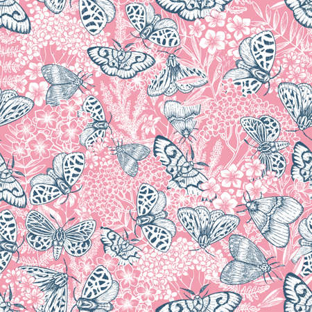Butterflies and florals seamless pattern. Moth and flowers pink background. Floral wallpaper. Vector illustration Illustration