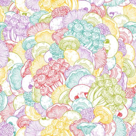 Various mushroom doodle seamless pattern. Mushroom background. Vintage style. Vector illustration
