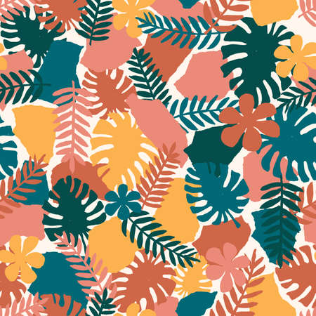 Seamless abstract exotic pattern. Wild nature. Vector illustration Иллюстрация