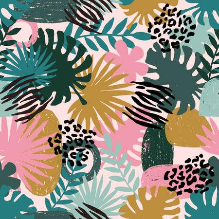 Motif exotique abstrait sans couture. Feuille de palmier de la jungle. La nature sauvage. Illustration vectorielle