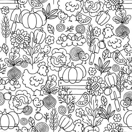 Farm living seamless pattern. Linear graphic. Chicken, vegetables and harvest tools. Scandinavian style. Vector illustration
