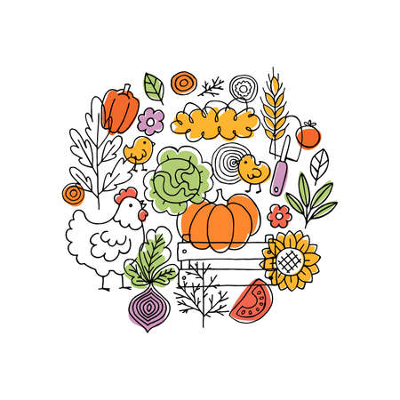 Farm living composition. Linear graphic. Chicken, vegetables and harvest tools. Scandinavian style. Vector illustration Иллюстрация