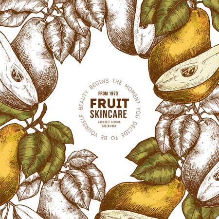 Pear fruit frame design template. Hand drawn illustration. Packaging label. Vector illustration