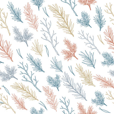 Winter branches and leaves seamless pattern. Botanical vintage illustration. Vector illustration Иллюстрация
