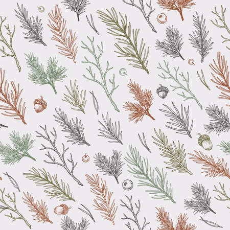 Winter forest branches and leaves seamless pattern. Botanical vintage illustration. Vector illustration