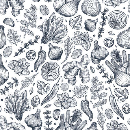 Herbs and spices seamless pattern. Ginger, spinach, onion, pepper, garlic, fennel, basil, oregano. Vector illustration