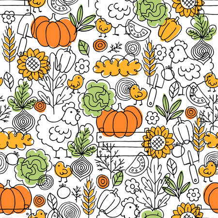 Farm living seamless pattern. Chicken, vegetables and harvest tools. Scandinavian doodle style. Vector illustration Stock Illustratie