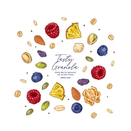 Granola ingredients explosion. Engraved style illustration. Various berries, fruits and nuts. Vector illustration