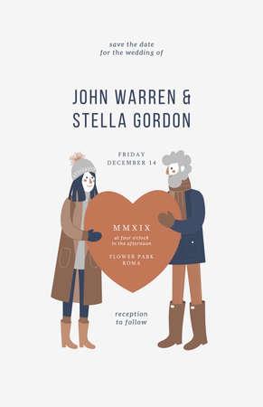 Couple portrait wedding invitation. Card design template. Vector illustration 向量圖像