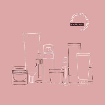Cosmetic bottles and packaging collection. Branding illustration. Lineart minimalist style. Vector illustration Ilustracja