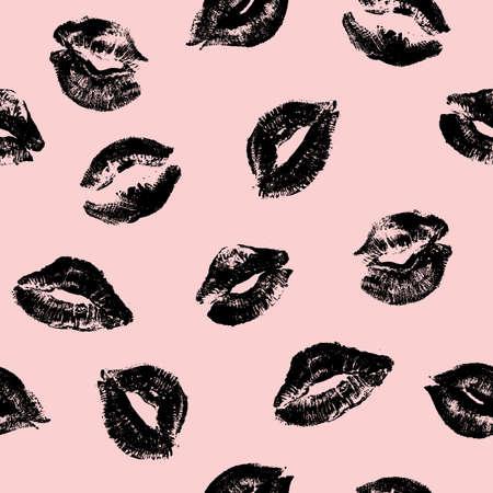 Les lèvres impriment un modèle sans couture. Saint Valentin. Fond cosmétique rose. Illustration vectorielle