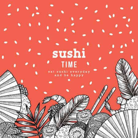 Sushi bar design template. Japanese food frame. Vector illustration
