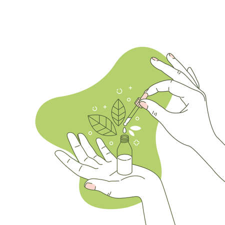 Woman hand holding organic cosmetic bottle. Cosmetics floral organic illustration. Natural ingredient. Vector illustration Stock Illustratie
