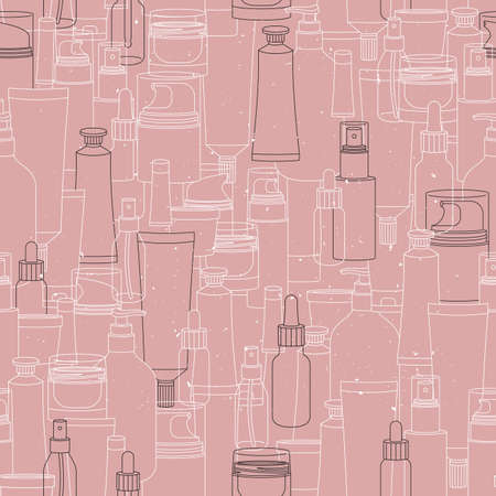 Various cosmetic bottles and tubes background. Packaging seamless pattern. Soft color. Vector illustration