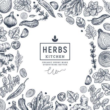 Herbs and spices frame design. Ginger, spinach, onion, pepper, garlic, fennel, basil, oregano engraved vintage illustration. Vector illustration
