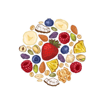 Granola round design. Engraved style illustration. Various berries, fruits and nuts. Vector illustration