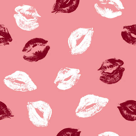 Lips print minimalist seamless pattern. Valentine day. Pink cosmetic background. Vector illustration