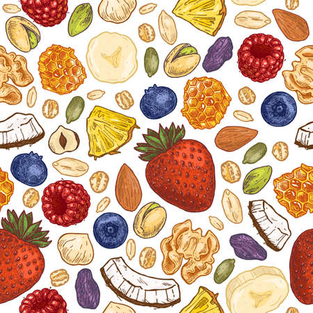 Granola colored seamless pattern. Engraved style illustration. Various berries, fruits, nuts and honey. Vector illustration Illustration