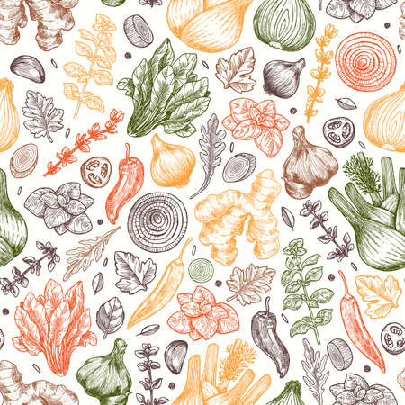 Herbs and spices seamless pattern. Ginger, spinach, onion, pepper, garlic, fennel. Packaging background. Vector illustration Stock Illustratie