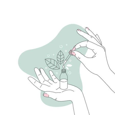 Mano de mujer sosteniendo la botella cosmética orgánica. Concepto minimalista. Ilustración orgánica floral de cosméticos. Ingrediente natural. Ilustración vectorial Ilustración de vector
