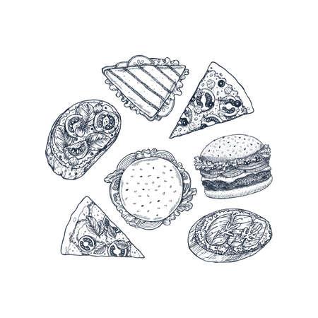 Hand drawn fast food set. Pizza, italian bruschetta, burger, sandwich. Vector illustration Ilustrace