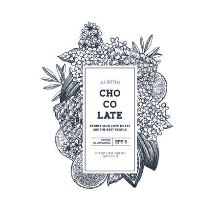 Chocolate packaging design template. Engraved style illustration. Honey, flower, cocoa, chocolate, citrus. Vector illustration Stock Illustratie