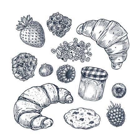 Set da colazione. Croissant, marmellata, frutti di bosco, miele, biscotto. Insieme di dolci. Illustrazione vettoriale