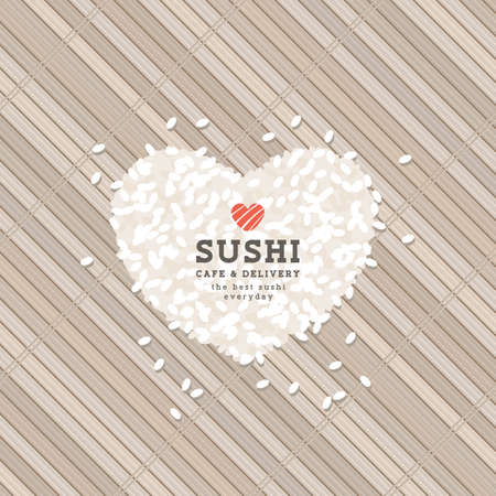 Heart shape rice concept. Sushi . Sushi bar design template. Vector illustration