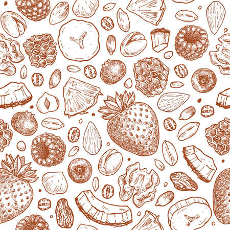 Granola seamless pattern. Balanced diet. Engraved style illustration. Various berries, fruits, nuts and honey. Vector illustration Vectores