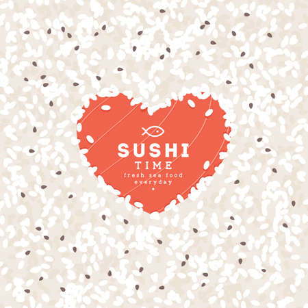 Heart shape rice and salmon concept. Sushi bar design template. Vector illustration