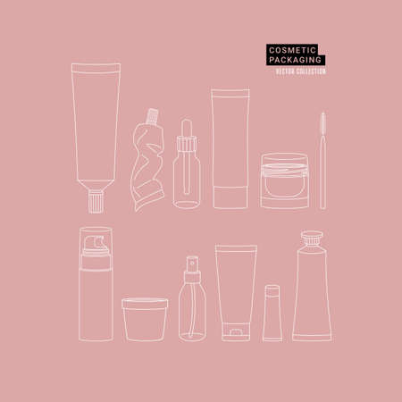 Various cosmetic bottles and packaging collection. Branding illustration. Lineart style. Vector illustration