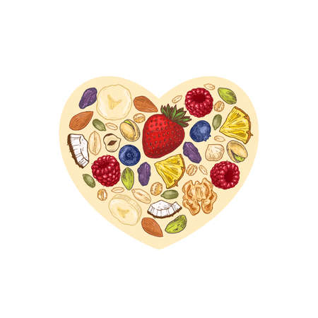Granola heart shape design. Engraved style illustration. Various berries, fruits and nuts. Vector illustration Ilustrace