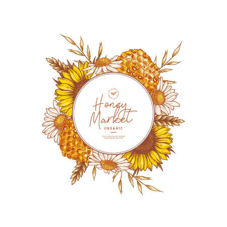 Honeycomb, flower and wheat colored round design. Honey and floral elements engraved vintage style. Vector illustration