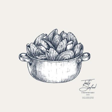 Mussel Casserole engraved illustration. Seafood design. Vector illustration Vettoriali