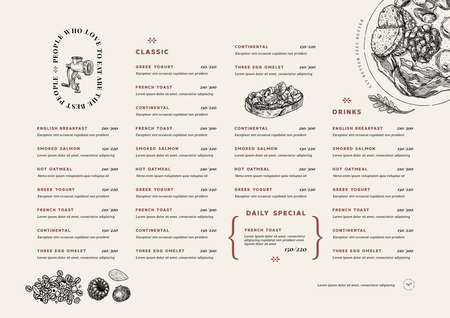 Restaurant breakfast menu template. Cafe identity. Minimalist style. Engraved illustrations. Vector illustration