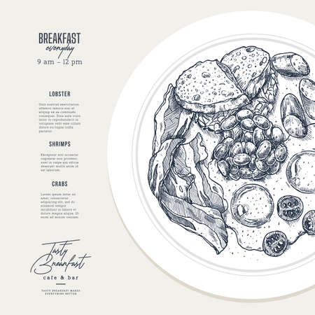 English breakfast plate illustration. Cafe menu design template. Vector illustration