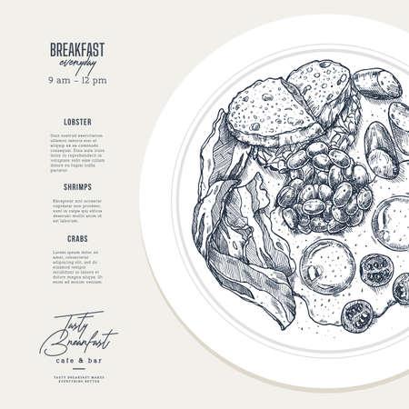 English breakfast plate illustration. Cafe menu design template. Vector illustration