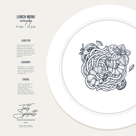 Pasta with shrimp and basil plate illustration. Italian restaurant design template. Vector illustration Ilustrace