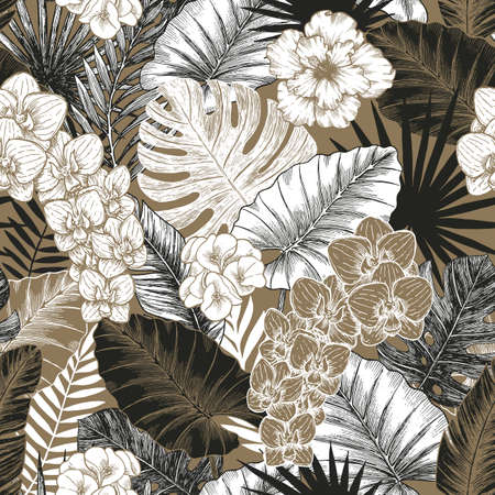 Vintage Exotic flowers and leaves seamless pattern. Tropical style. Vector illustration