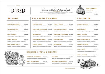 Italian restaurant menu template. Cafe identity. Minimalist style. Engraved illustrations. Pasta, bruschetta, garlic. Vector illustration