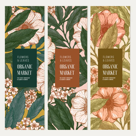 Spring flowers and leaves banner collection. Botanical vintage illustration. Vector illustration Ilustrace