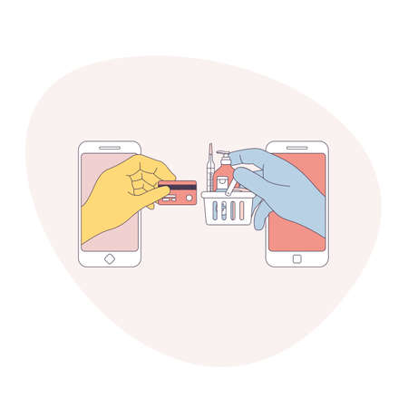 Online shopping in rubber gloves. Anti virus shopping. Hands holding shopping basket and credit card. Digital illustration. Store application