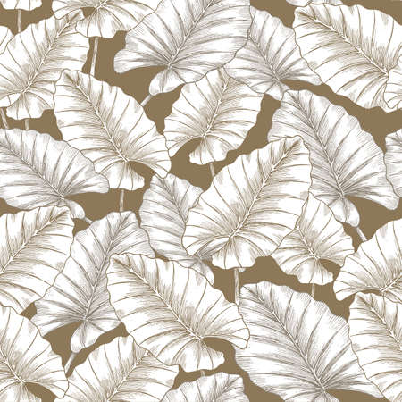 Minimalist tropical golden leaves seamless pattern. Jungle background. Çizim