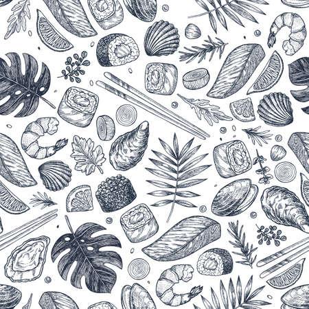 Seafood various seamless pattern. Sushi, shrimp, mussel, oyster, salmon, seashell, herbs, carp, sardine, monstera.
