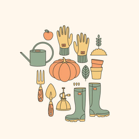 Gardening tools collection. Minimalist style. Agricultural work. Garden tool set. Vector illustration