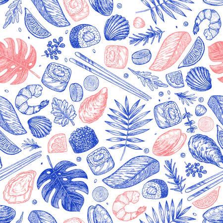 Seafood seamless pattern. Sushi, shrimp, mussel, oyster, salmon, seashell, herbs, carp, sardine, monstera.