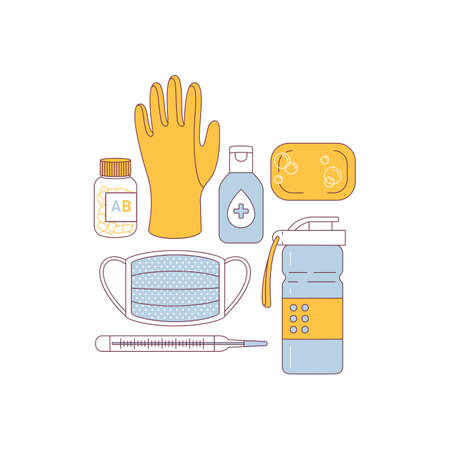 Anti virus remedies set. Medications, water bottle, rubber glove, sanitzer, medical mask, soap, vitamins, thermometer. Flat line art. Ilustrace
