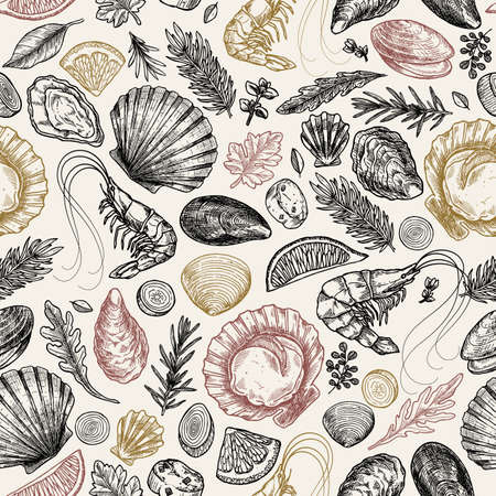 Seafood vintage various seamless pattern. Shrimp, mussel, oyster, seashell, herbs. Vector illustration Ilustrace