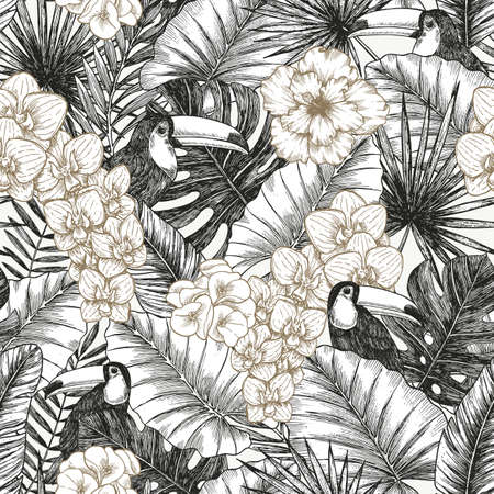 Exotic flowers and leaves minimalist seamless pattern. Tropical style. Vector illustration